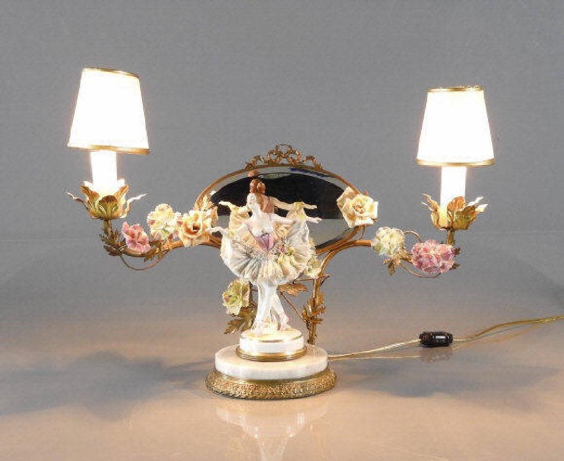 PORCELAIN BALLERINA & GILT MIRROR LAMP, CIRCA 1920