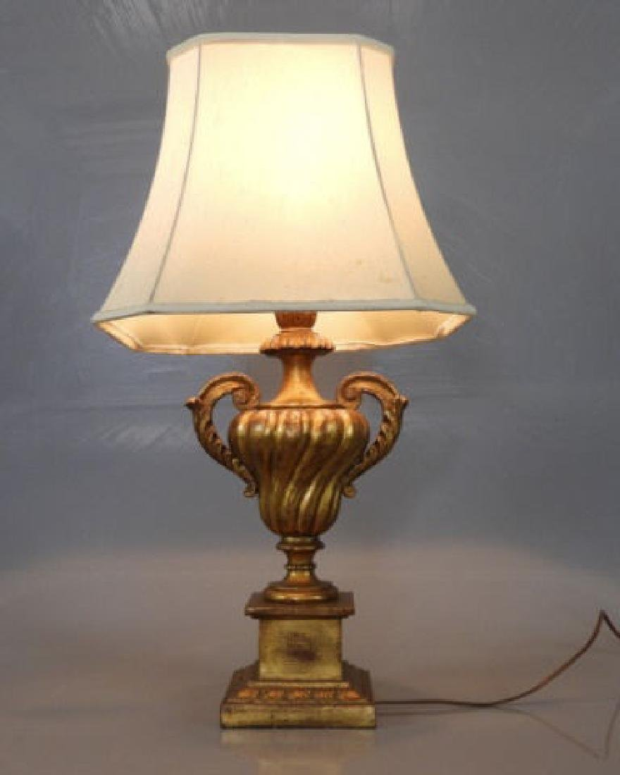 CARVED GILT WOOD URN SHAPED LAMP, ITALY