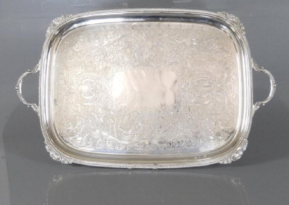 SILVER PLATED TWO-HANDLED SERVING TRAY, BIRKS