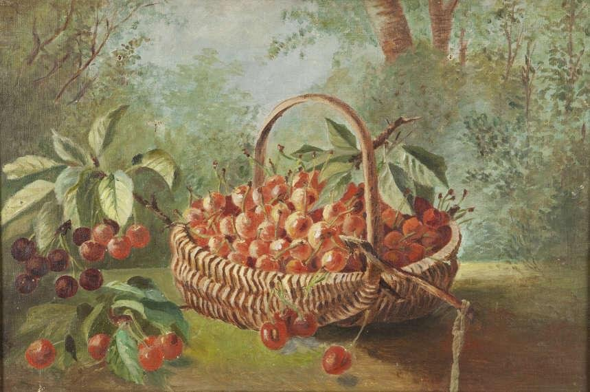 ART - CHERRIES IN A BASKET / NATURE MORTE, USA