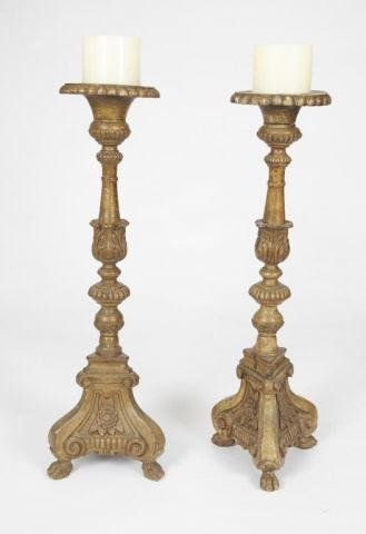 PAIR OF REGENCY PINE CANDLESTICKS / CHANDELIERS