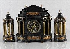 TIFFANY - THREE PIECE SLATE & GILT BRONZE CLOCK
