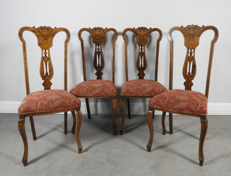 FOUR EDWARDIAN MAHOGANY SIDE CHAIRS