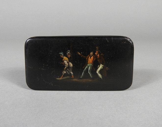 PAINTED PAPIER MACHE SNUFF BOX, EARLY 19TH CENTURY
