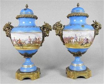 SUBSTANTIAL PAIR OF SEVRES STYLE PORCELAIN URNS