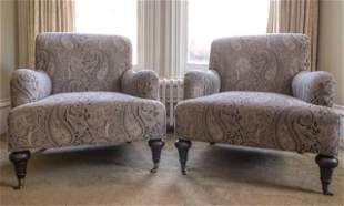 Pair of Contemporary Victorian Style Club Chairs