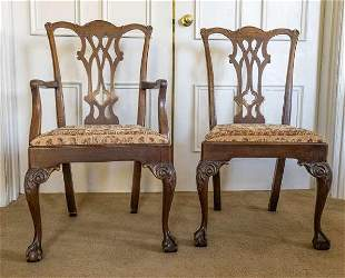 Two Chippendale Style Chairs, Late 19th Century