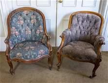Two Victorian Walnut Armchairs