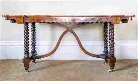 Library Table With Burled Walnut Veneer