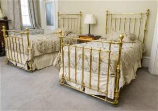 Pair Of Single Brass Beds
