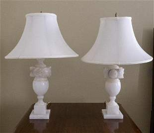 Pair of Carved Alabaster Lamps