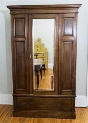 Walnut Wardrobe Cabinet, Early 20th Century