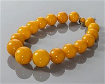 Vintage Baltic Amber Bead Necklace, Silver Clasp