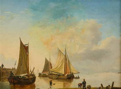 Dutch School, Harbour Scene, 19th Century