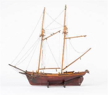 Antique Handmade Wooden Ship by Eugène Leclerc