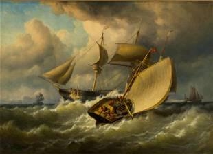 Oil on Canvas, Pilot Boat, Flemish, 19th Century