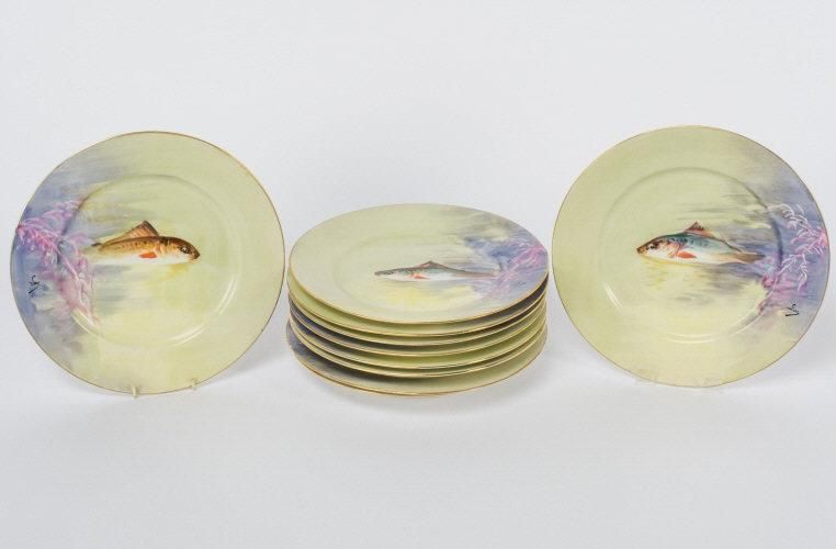 Hand Painted Limoges Fish Plates, Circa 1900