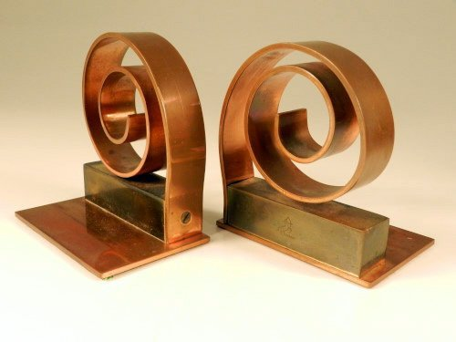Chase Art Deco Copper Bookends