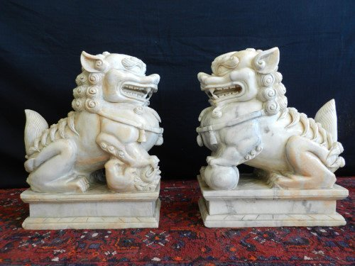 Large marble Foo dogs