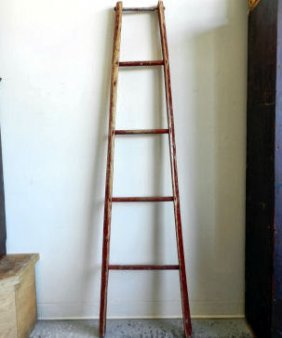 Canadiana Red Wooden Ladder