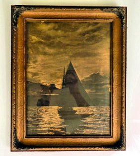 Gold Toned Photograph Of Sailboat
