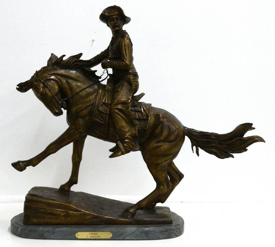 "Frederic Remington ""Cowboy"" Bronze Statue"
