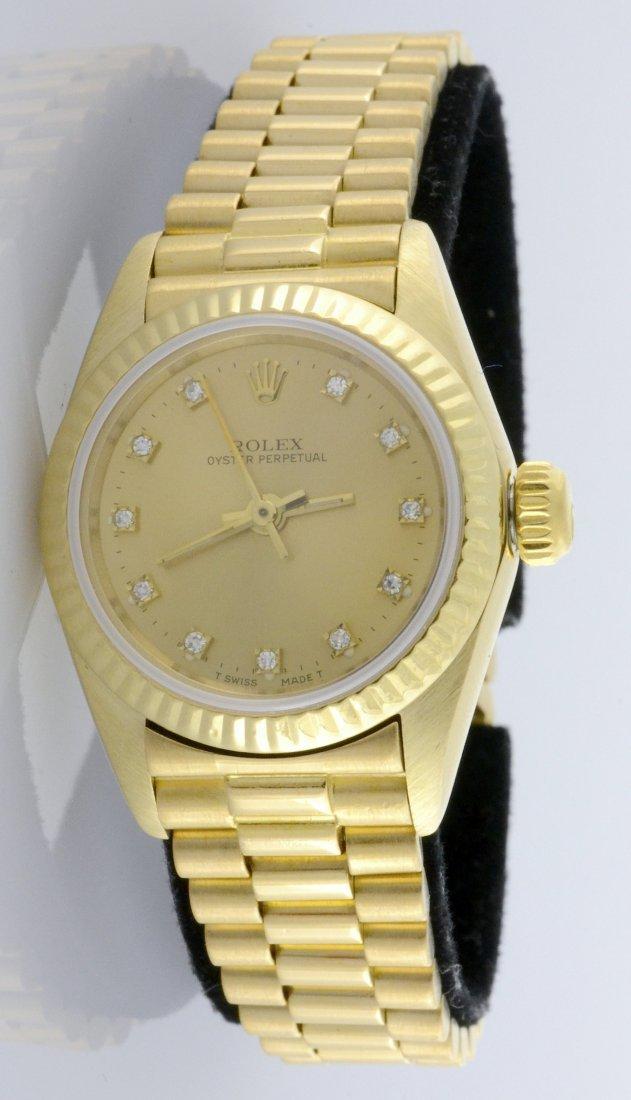 Rolex 18K Oyster Perpetual Wristwatch (w/ Diamonds)