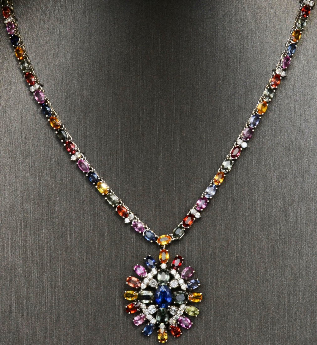Multicolor Sapphire & Diamond Necklace AV: $27,155
