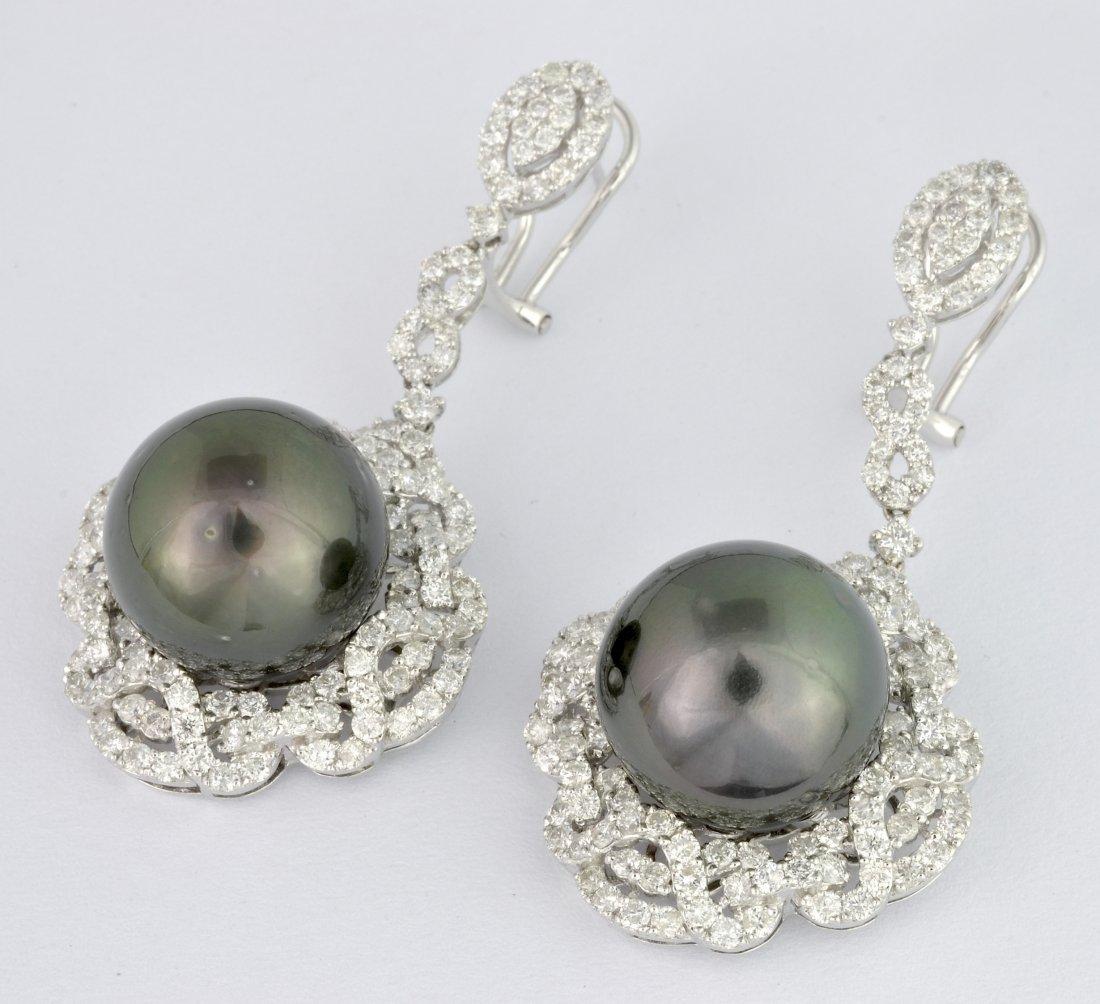 Tahitian Pearl & Diamond Earrings AV: $22,540