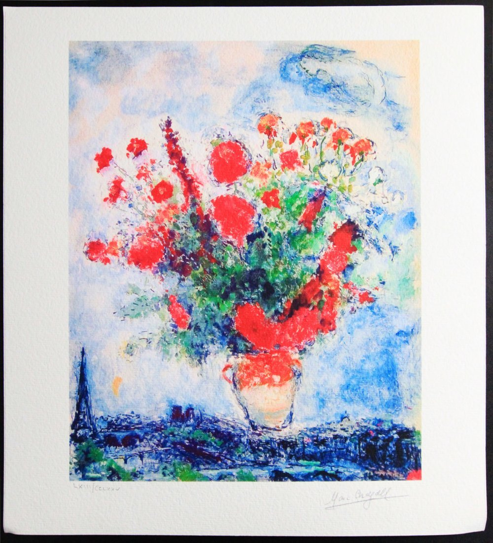 """Marc Chagall's """"Bouquet Over City"""" Giclee"""