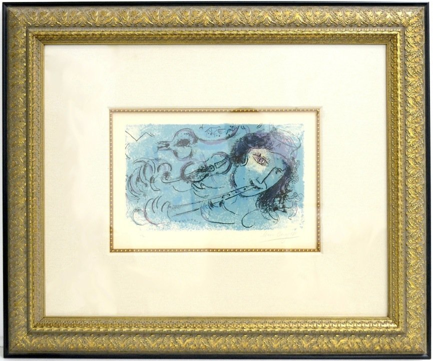"""Marc Chagall's 1957 """"The Flute Player"""" Orig. Art"""
