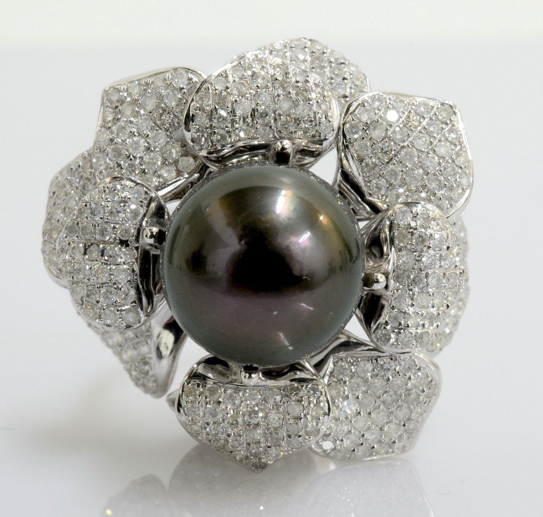 Tahitian Pearl & Diamond Ring AV: $8,120