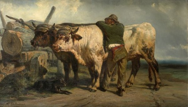7: Alexandre DUBUISSON (1805-1870) Peasant and Team of