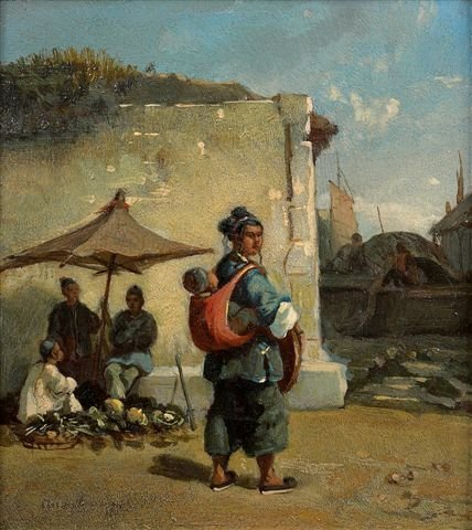 8: Auguste BORGET (1809-1877)  Chinese Scenes Two oils