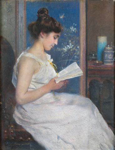 19: Paul LEROY (1860-1942) Reading Oil on canvas, signe