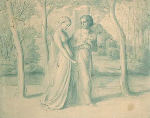 2: Louis A.F JANMOT (1814-1892) The Couple  Drawing on