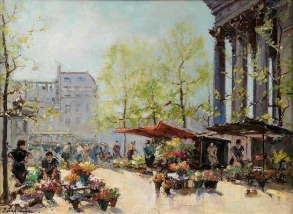 3: Georges LAPCHINE (1885-1951)Russian Le marché aux fl