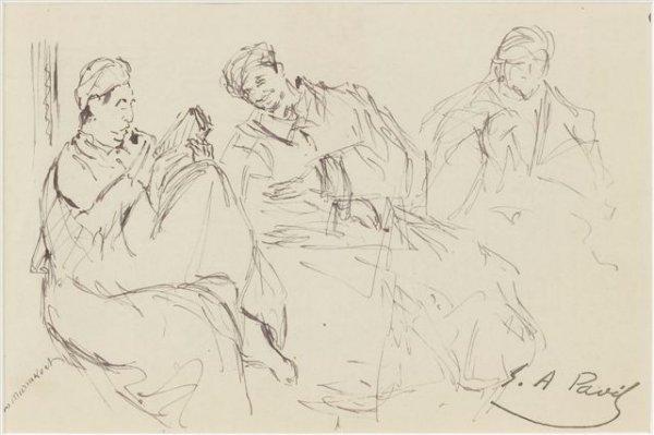 14: Élie-Anatole PAVIL (1873-1948), Russian Trois homme