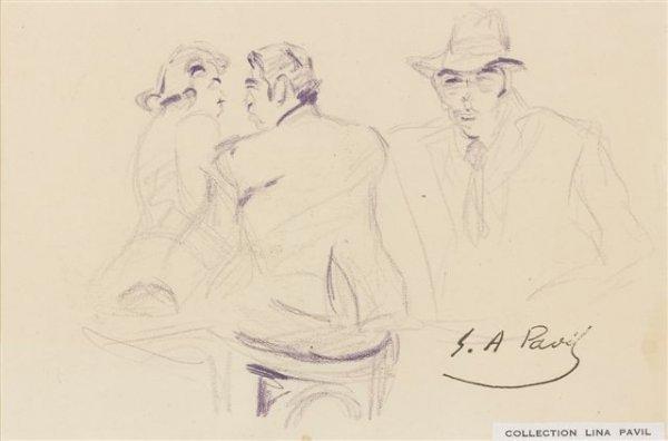 20: élie-Anatole PAVIL (1873-1948) Russian Scène de caf