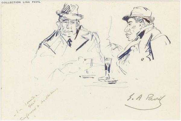 21: élie-Anatole PAVIL (1873-1948) Two Men in a Café In