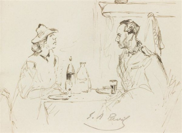 24: élie-Anatole PAVIL (1873-1948), Russian The Meal In