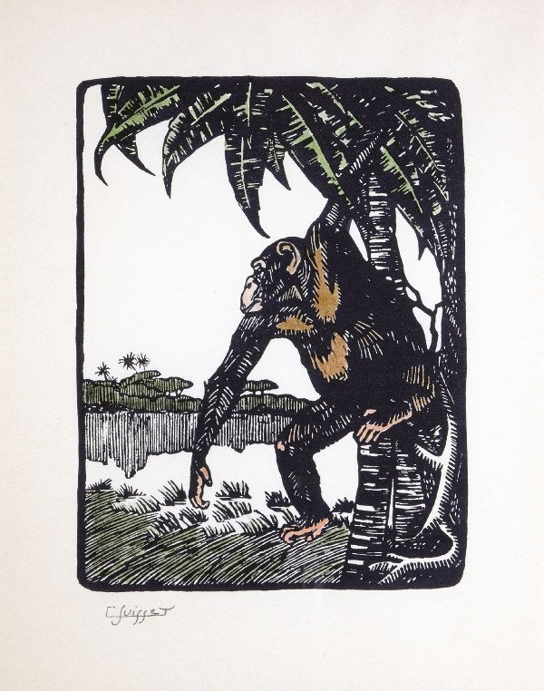 "1009: SUISSE Gaston (1896-1988) ""Gorilla"" Engraving on"