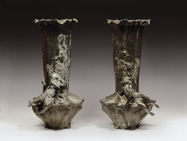 "1014: LARCHE Raoul (1860-1912) Pair of large vases ""Rev"