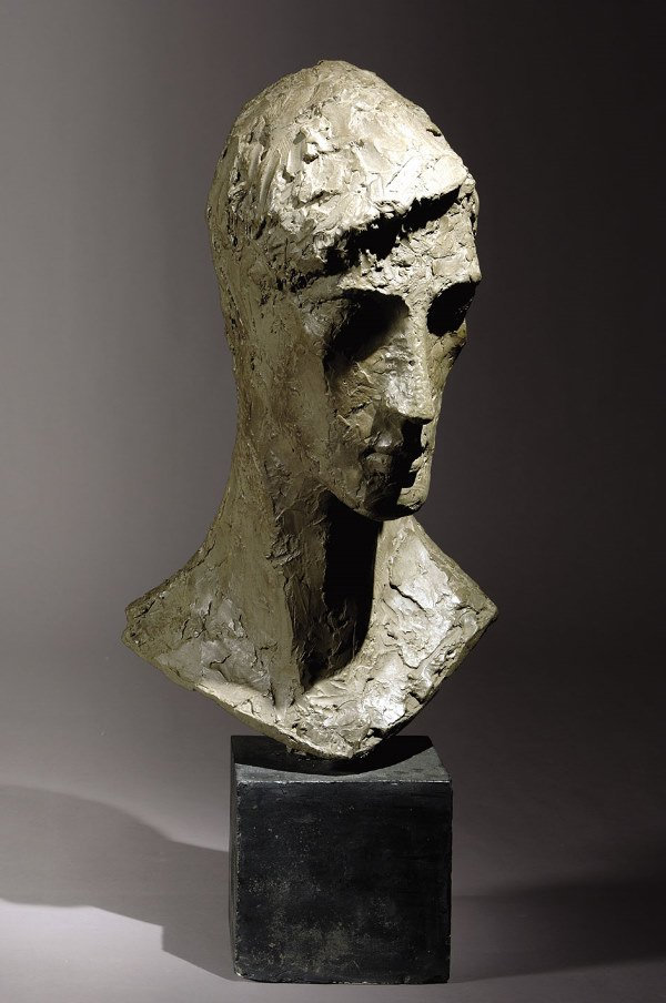 "1023: FRENCH SCHOOL ""Head of a Man"" Patinated plaster,"