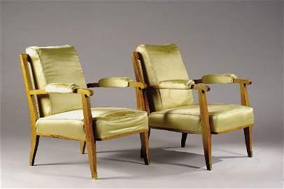 1220: LELEU Jules (1883-1961) Pair of armchairs.   Desc