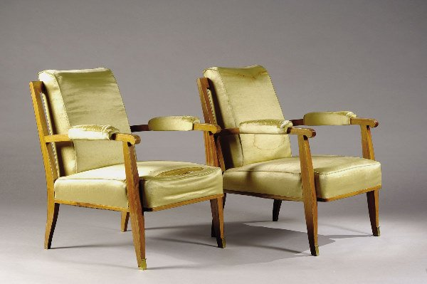 1220: LELEU Jules (1883-1961) Pair of armchairs.   Desc