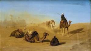 64: Charles-Th�odore FR�RE (1815-1888). Caravane dans l