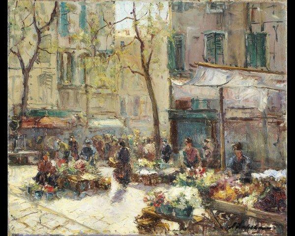 5: Georges LAPCHINE (1885-1951), Le marché aux fleurs