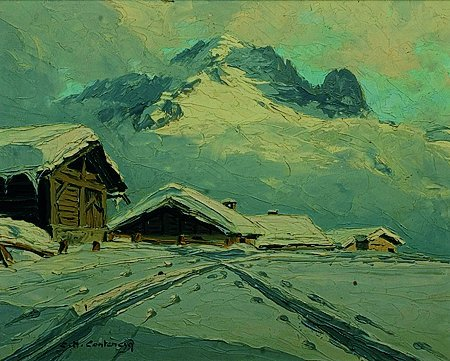 3: Charles Henry  CONTENCIN (XX°siècle) Neige à Trelech