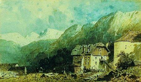 5: Eugène DESHAYE (1828-1980) Village en montagne Aquar